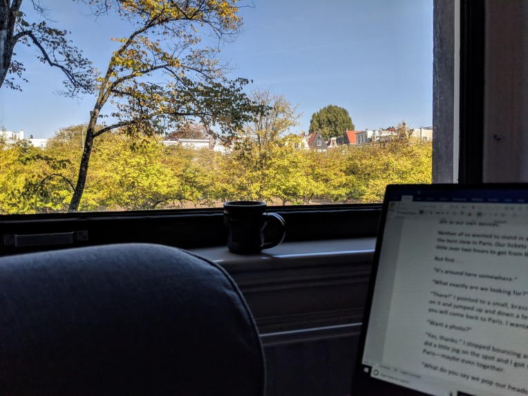 Writing with a view of Amsterdam