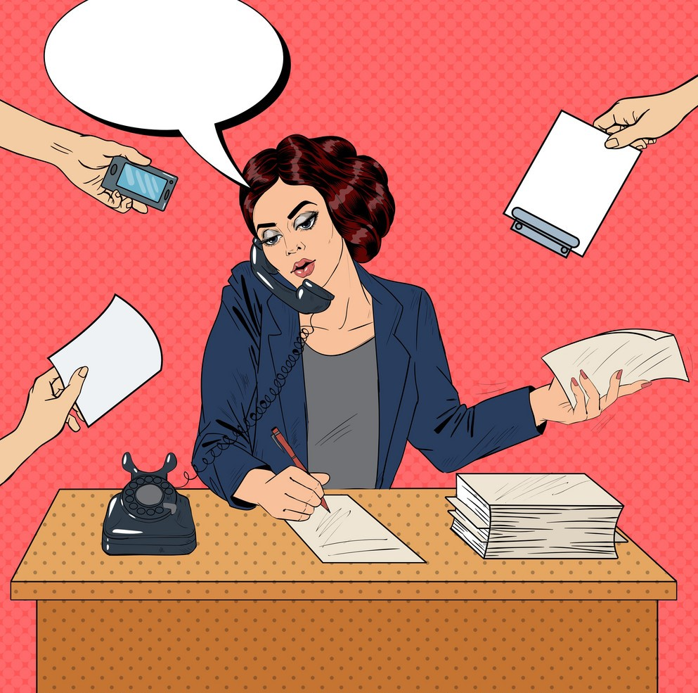 pop-art-multitasking-busy-business-woman-at-office-vector-11222980