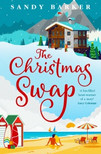 Cover of The Christmas Swap A beach in the lower half with a couple sitting next to two bathing boxes A snowy mountainside view in the top half, a couple walking into a ski lodge