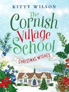 Cover of Christmas Wishes, a snowy village with floral Christmassy foliage framing a church.