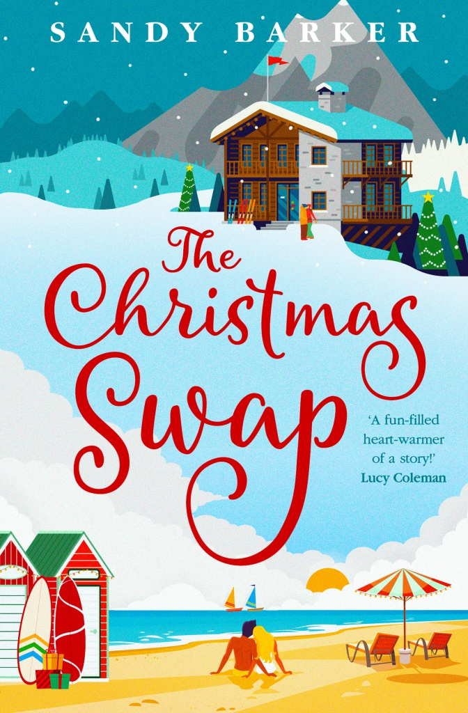 Cover of the book The Christmas Swap. A snowy scene at the top of the cover, with a ski lodge and a man and a woman. On the bottom of the cover is a beach image with bathing boxes and surfboards and a man and a woman sitting together.