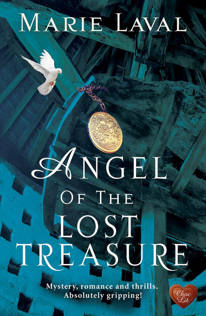 Cover of Angel if the Lost Treasure Wooden rafters of an old building; a dove flying to land on a rafter; a gold medallion hanging from the rafters