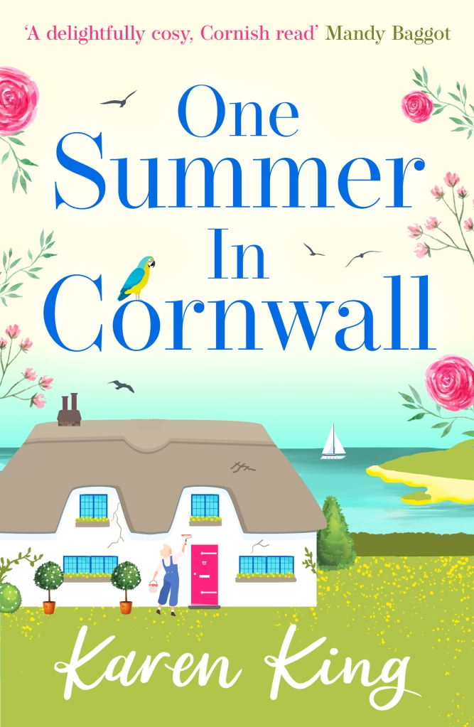 Cover of the book, One Summer in Cornwall. Woman painting outside of a thatched cottage by the seaside. A boat is sailing offshore.