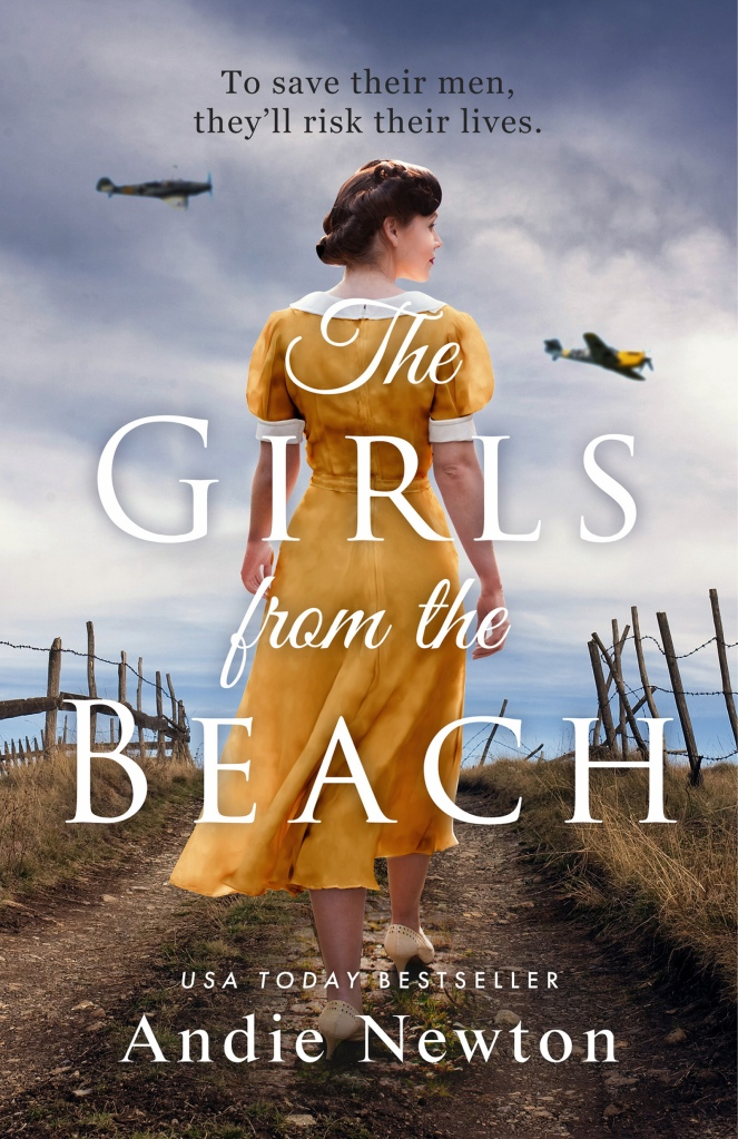 Cover for The Girls from the Beach Woman in 1940s yellow dress walking towards a beach that is bordered by a barbed wire fence.