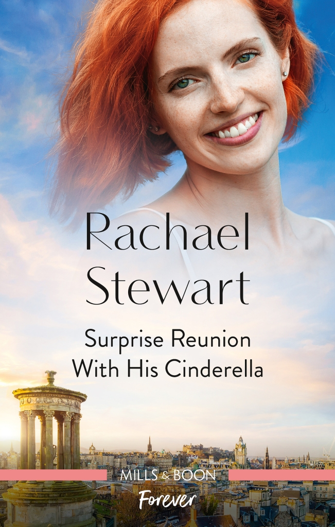 Cover of Surprise Reunion with His Cinderella by Rachael Stewart. Red-headed woman smiling at the top of image fading into a cityscape of a town in the Seychelles.